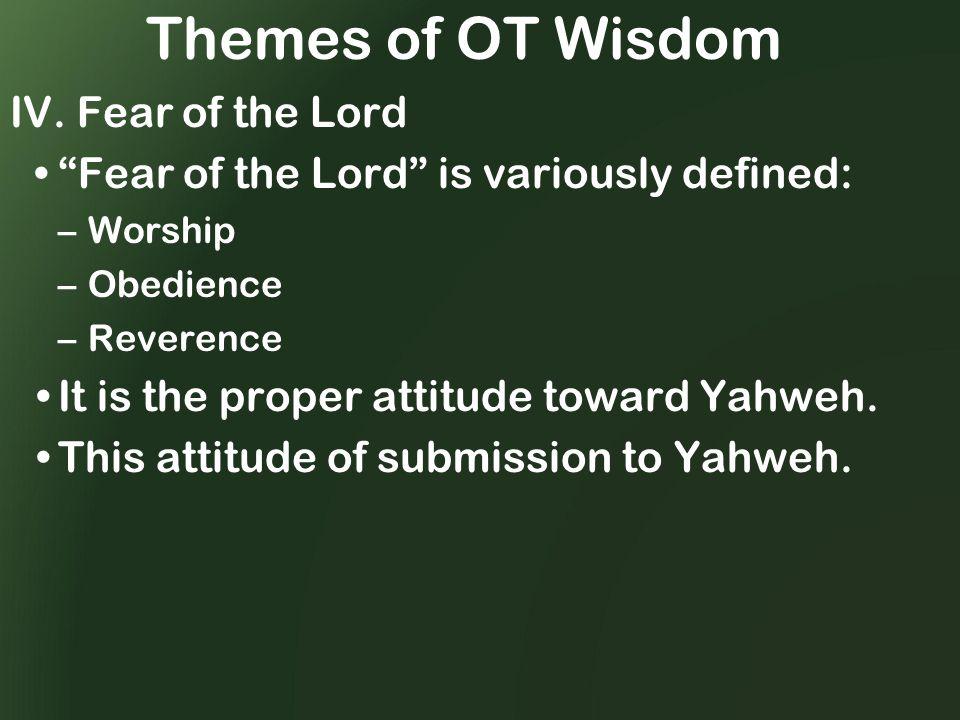 Themes of OT Wisdom IV.