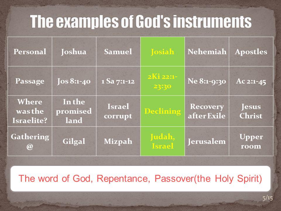 PersonalJoshuaSamuelJosiahNehemiahApostles PassageJos 8:1-401 Sa 7:1-12 2Ki 22:1- 23:30 Ne 8:1-9:30Ac 2:1-45 Where was the Israelite.