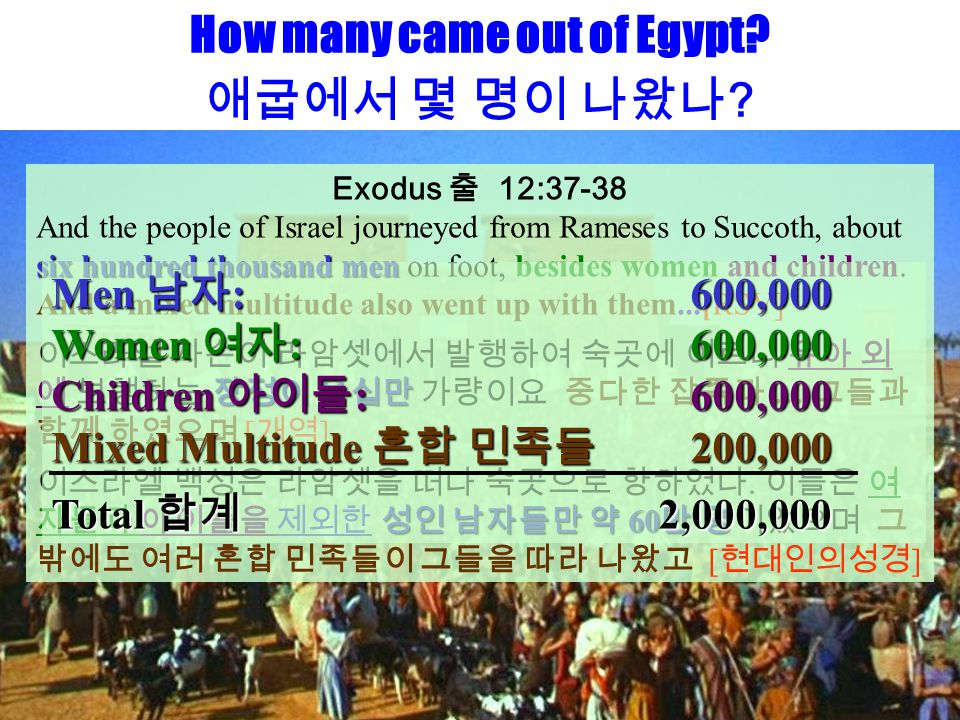 How many came out of Egypt? 애굽에서 몇 명이 나왔나 ? Exodus 출 12:37-38 six hundred thousand men And the people of Israel journeyed from Rameses to Succoth, abo