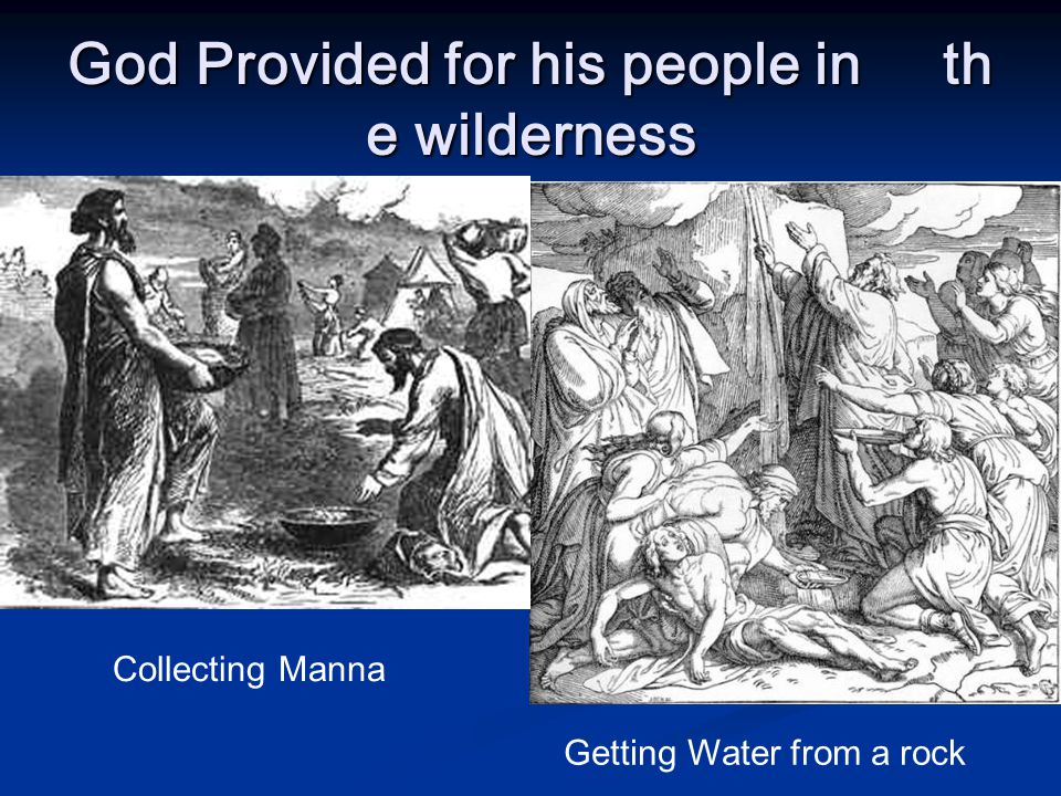 God Provided for his people in the wilderness Collecting Manna Getting Water from a rock