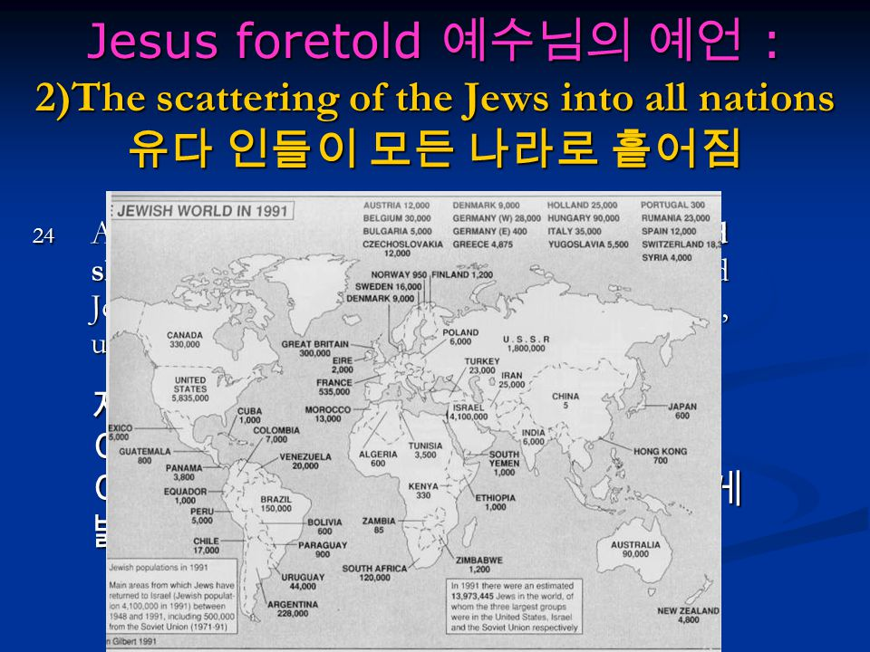 Jesus foretold 예수님의 예언 : 2)The scattering of the Jews into all nations 유다 인들이 모든 나라로 흩어짐 24 And they shall fall by the edge of the sword, and shall be led away captive into all nations: and Jerusalem shall be trodden down of the Gentiles, until the times of the Gentiles be fulfilled.