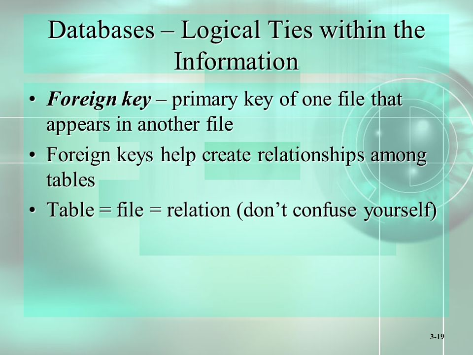 3-19 Databases – Logical Ties within the Information Foreign key – primary key of one file that appears in another fileForeign key – primary key of one file that appears in another file Foreign keys help create relationships among tablesForeign keys help create relationships among tables Table = file = relation (don't confuse yourself)Table = file = relation (don't confuse yourself)