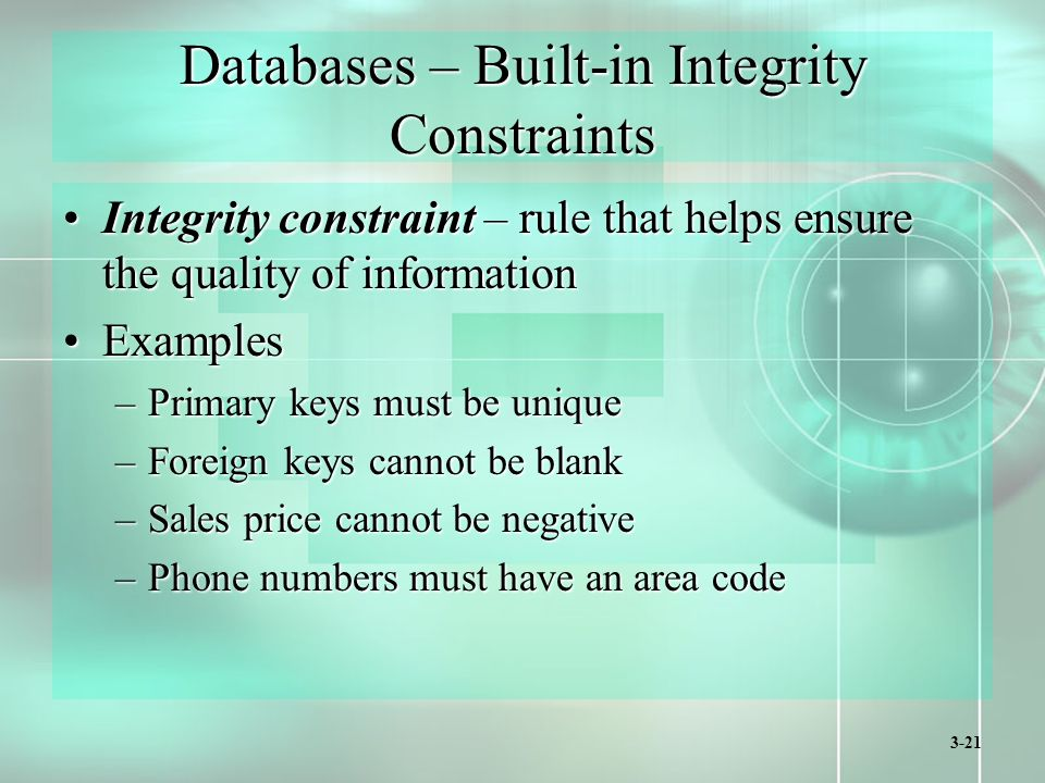3-21 Databases – Built-in Integrity Constraints Integrity constraint – rule that helps ensure the quality of informationIntegrity constraint – rule that helps ensure the quality of information ExamplesExamples –Primary keys must be unique –Foreign keys cannot be blank –Sales price cannot be negative –Phone numbers must have an area code
