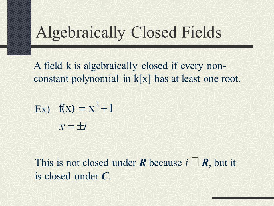Contents Finite Fields/Algebraic Closure Projective Planes Bezout's Theorem