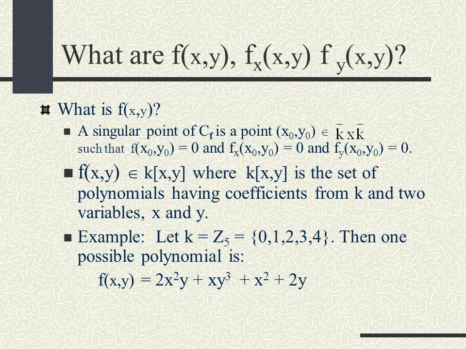 Singular Points A singular point of C f is a point (x 0,y 0 )  such that f (x 0,y 0 ) = 0 and f x (x 0,y 0 ) = 0 and f y (x 0,y 0 ) = 0.