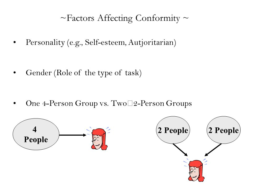 ~Factors Affecting Conformity ~ Personality (e.g., Self-esteem, Autjoritarian) Gender (Role of the type of task) One 4-Person Group vs. Two2-Person Gr