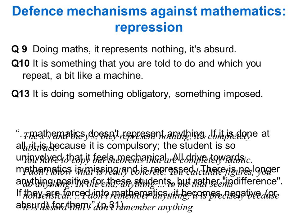 Defence mechanisms against mathematics: repression Q 9 Doing maths, it represents nothing, it s absurd.