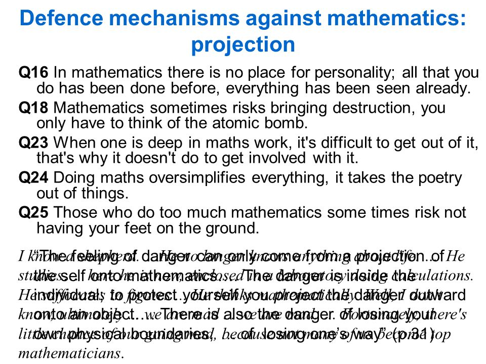Defence mechanisms against mathematics: projection Q16 In mathematics there is no place for personality; all that you do has been done before, everything has been seen already.