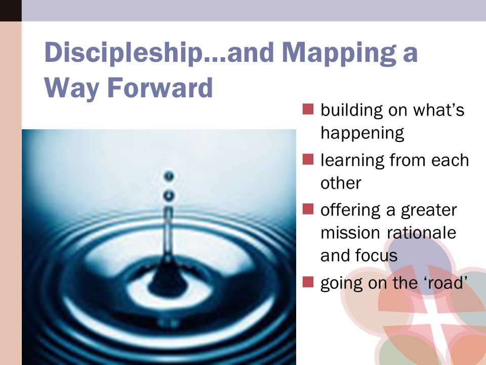 building on what's happening learning from each other offering a greater mission rationale and focus going on the 'road' Discipleship…and Mapping a Way Forward