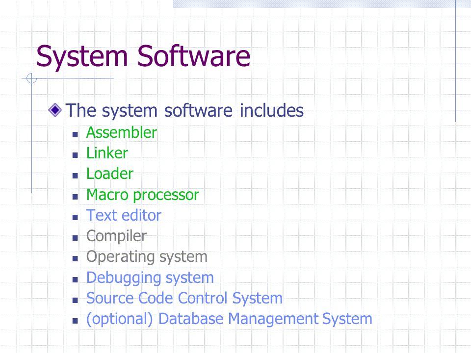 System Software The system software includes Assembler Linker Loader Macro processor Text editor Compiler Operating system Debugging system Source Code Control System (optional) Database Management System