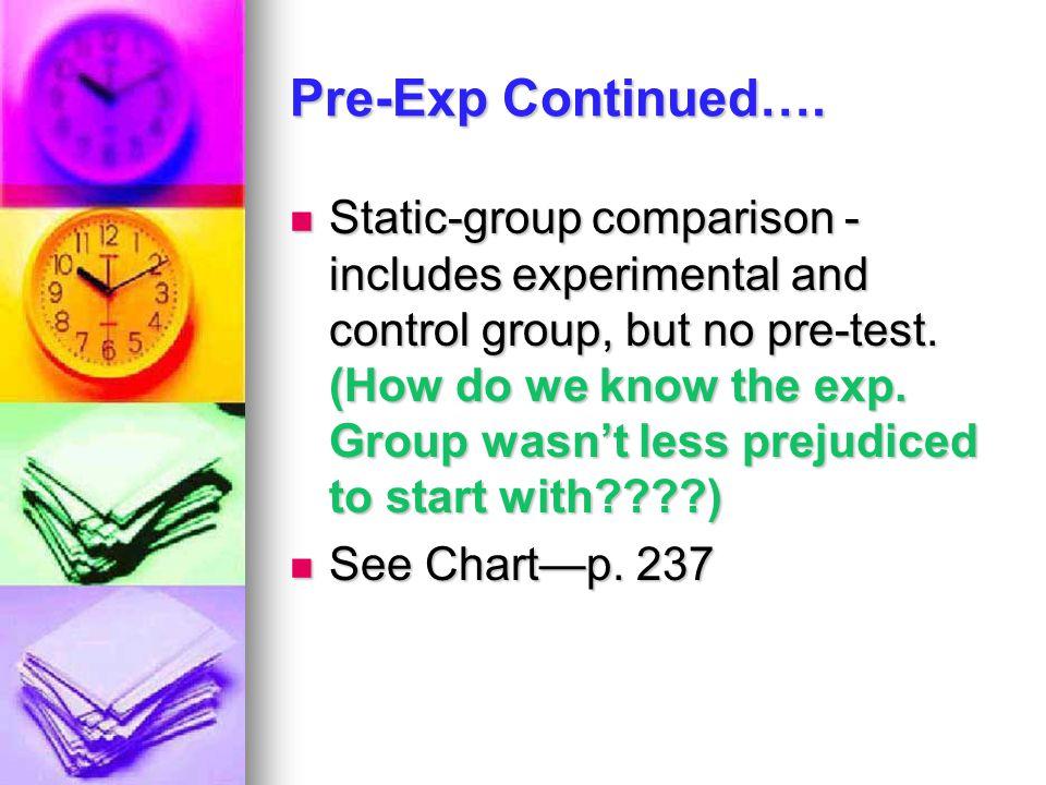 Pre-Exp Continued….