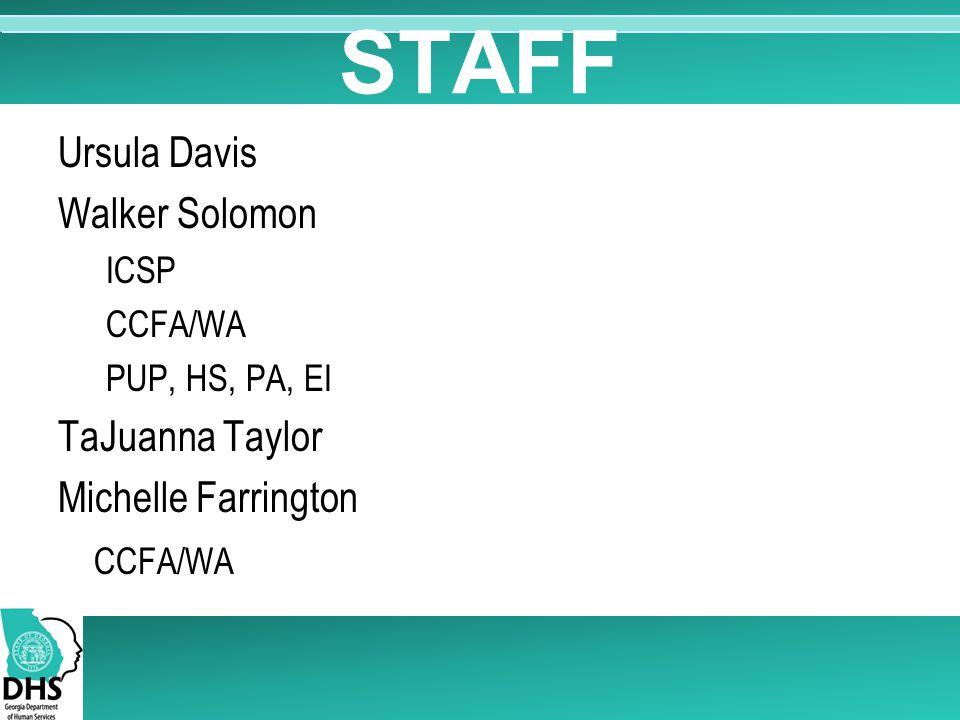 STAFF Ursula Davis Walker Solomon ICSP CCFA/WA PUP, HS, PA, EI TaJuanna Taylor Michelle Farrington CCFA/WA