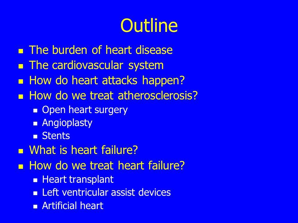 Outline The burden of heart disease The cardiovascular system How do heart attacks happen.