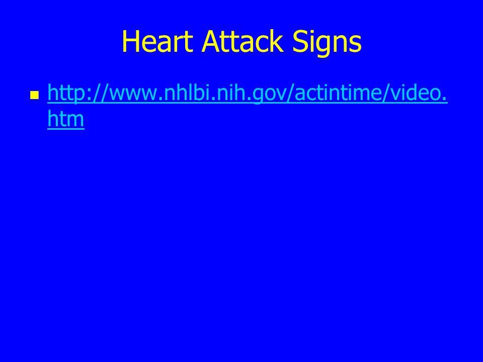 Heart Attack Signs http://www.nhlbi.nih.gov/actintime/video.