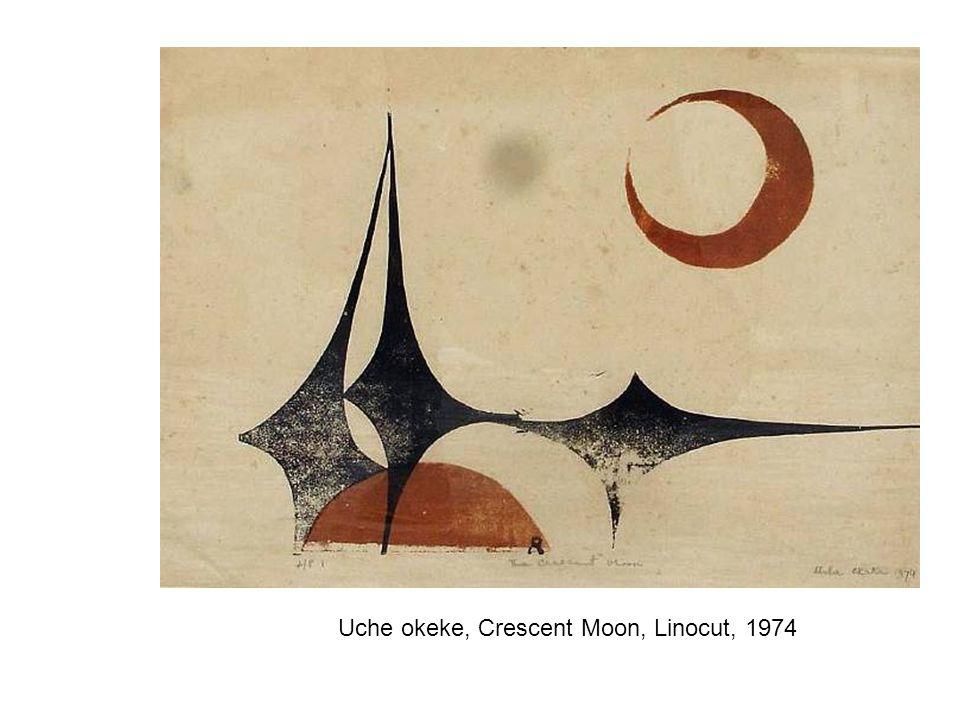 Uche okeke, Crescent Moon, Linocut, 1974