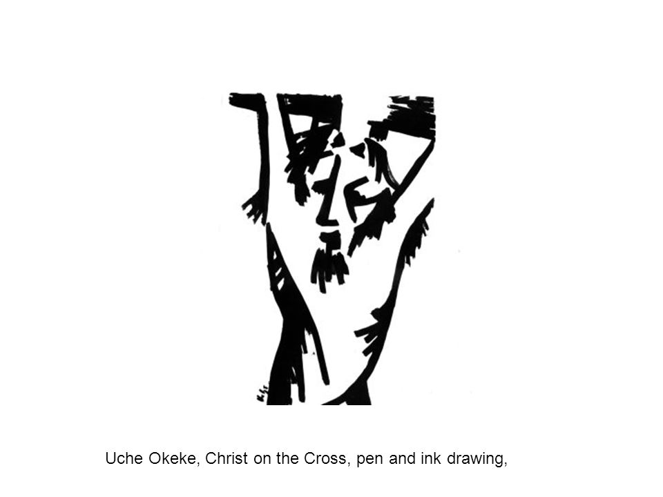 Uche Okeke, Christ on the Cross, pen and ink drawing,