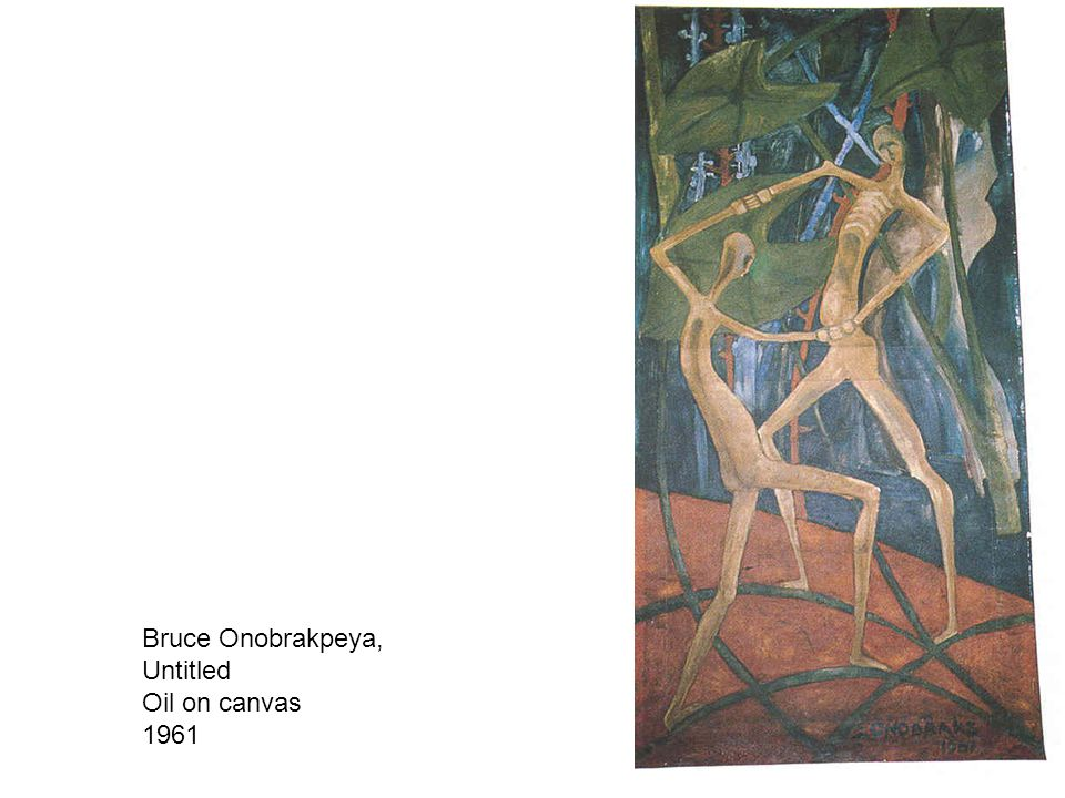 Bruce Onobrakpeya, Untitled Oil on canvas 1961