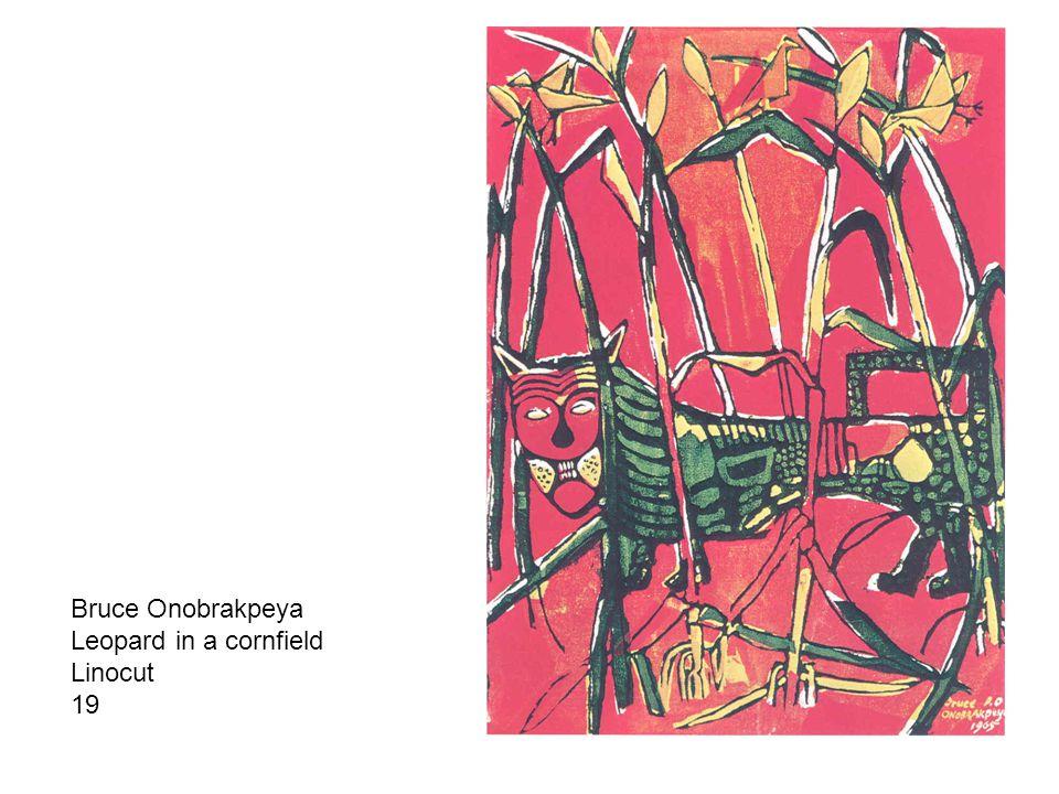 Bruce Onobrakpeya Leopard in a cornfield Linocut 19