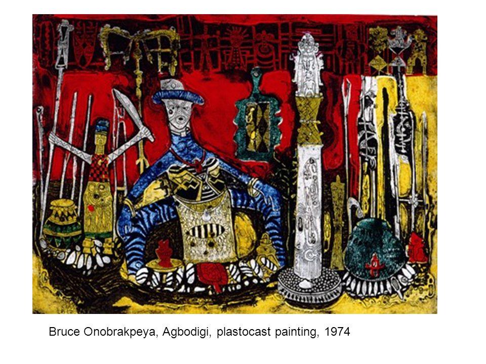 Bruce Onobrakpeya, Agbodigi, plastocast painting, 1974