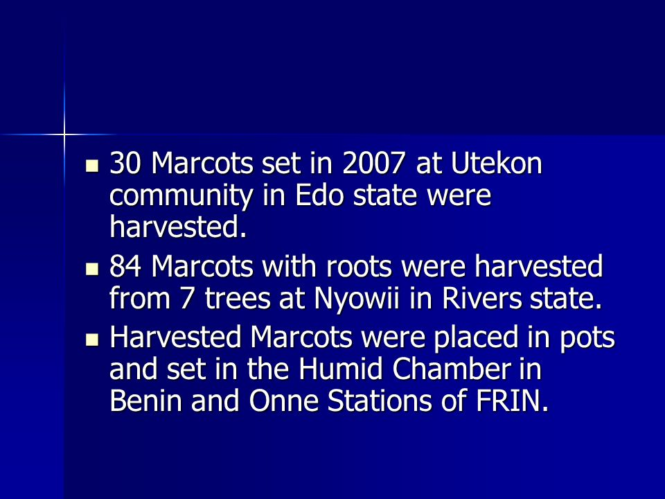 30 Marcots set in 2007 at Utekon community in Edo state were harvested.
