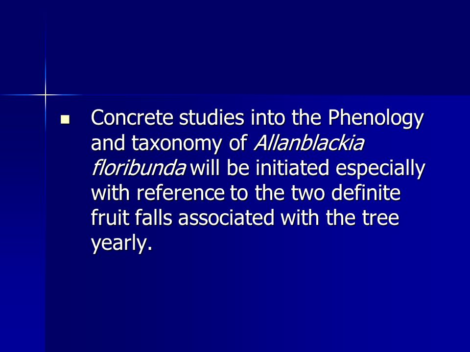 Concrete studies into the Phenology and taxonomy of Allanblackia floribunda will be initiated especially with reference to the two definite fruit falls associated with the tree yearly.