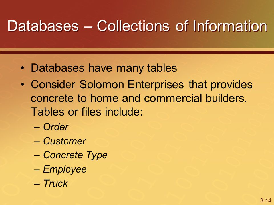 3-14 Databases – Collections of Information Databases have many tables Consider Solomon Enterprises that provides concrete to home and commercial builders.