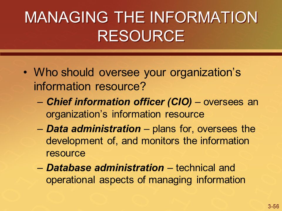 3-56 MANAGING THE INFORMATION RESOURCE Who should oversee your organization's information resource.
