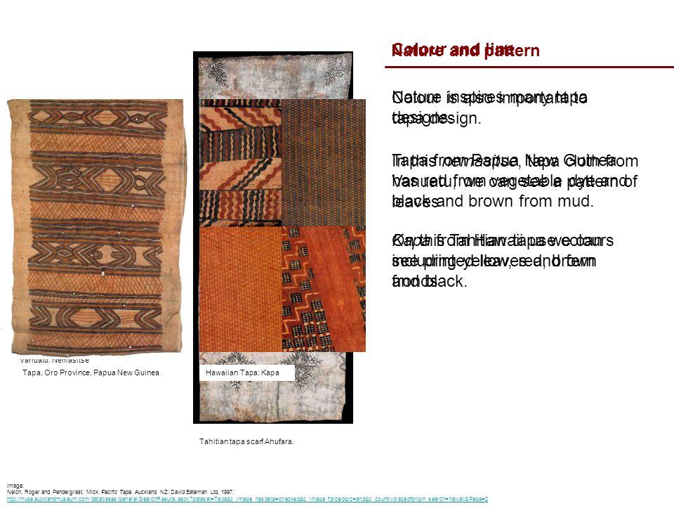 Nature and pattern Tapa made from Eromanga, Vanuatu: Nemasitse Nature inspires many tapa designs.