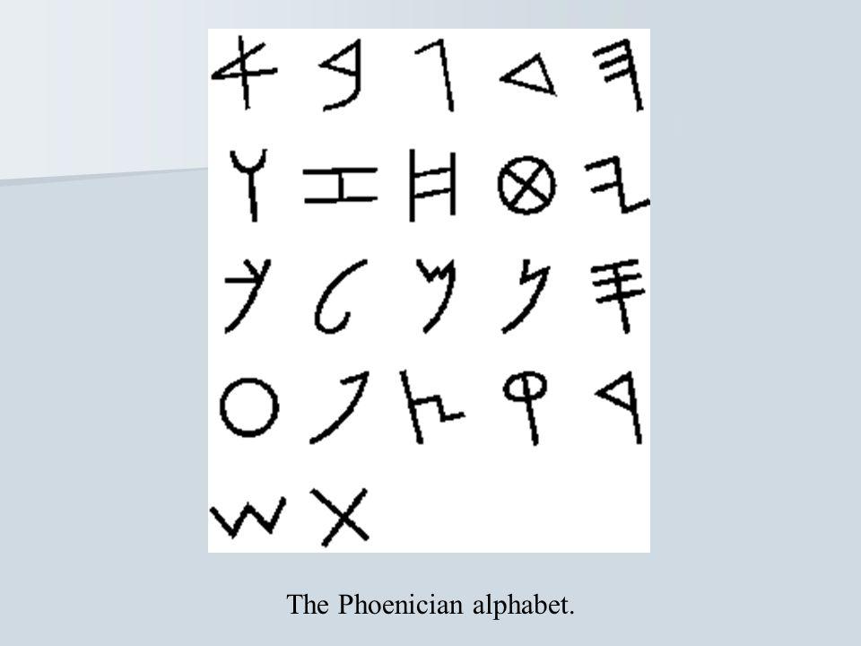 The Phoenician alphabet.