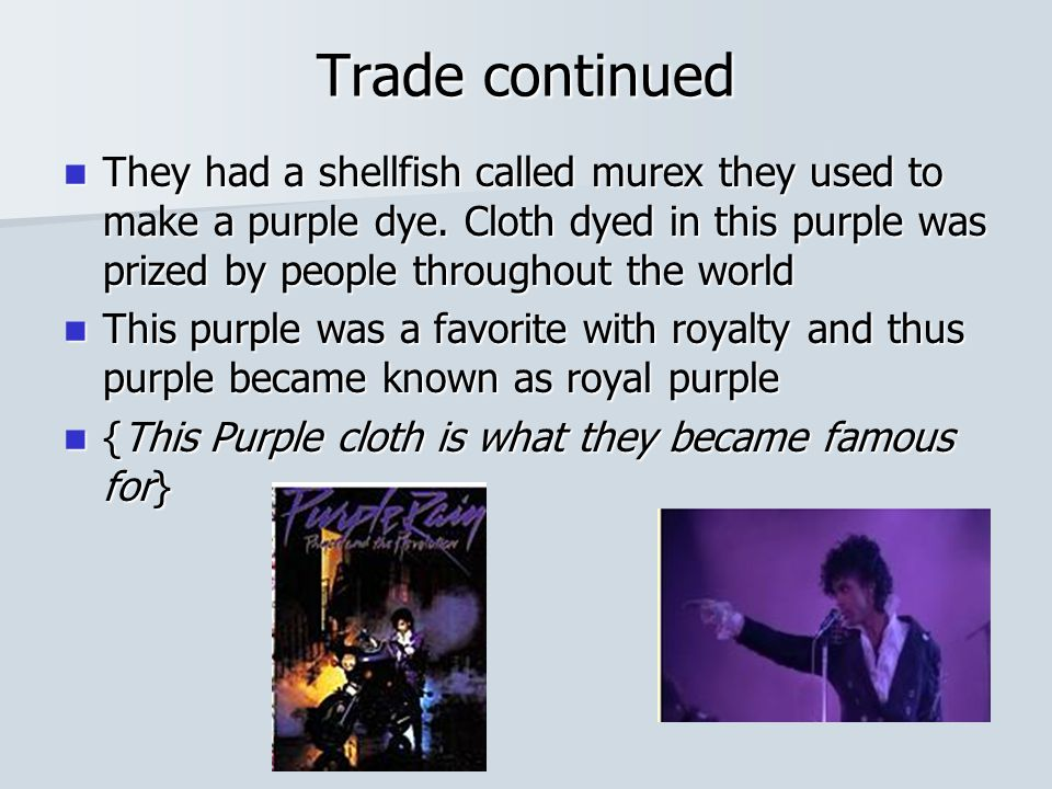 Trade continued They had a shellfish called murex they used to make a purple dye.
