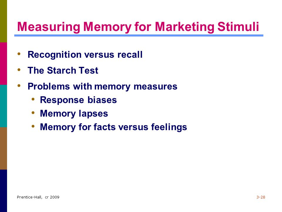 Prentice-Hall, cr 20093-28 Measuring Memory for Marketing Stimuli Recognition versus recall The Starch Test Problems with memory measures Response bia