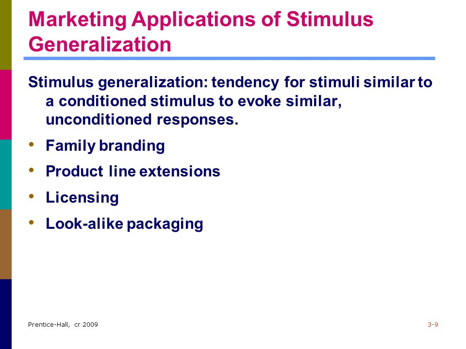 Prentice-Hall, cr 20093-9 Marketing Applications of Stimulus Generalization Stimulus generalization: tendency for stimuli similar to a conditioned sti