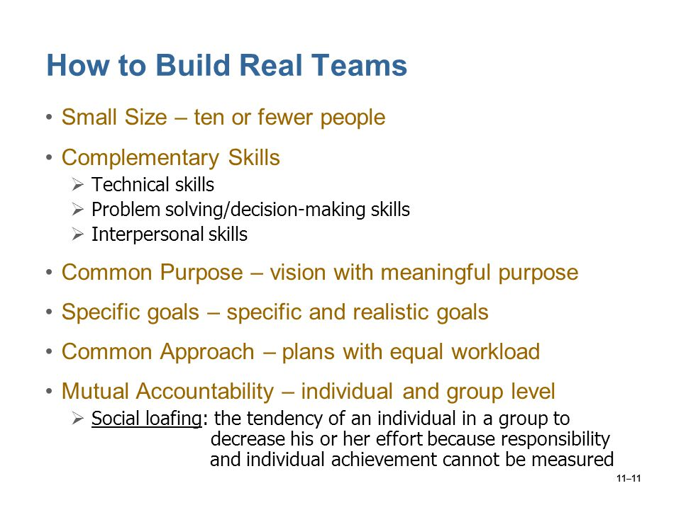 11–11 How to Build Real Teams Small Size – ten or fewer people Complementary Skills  Technical skills  Problem solving/decision-making skills  Inte