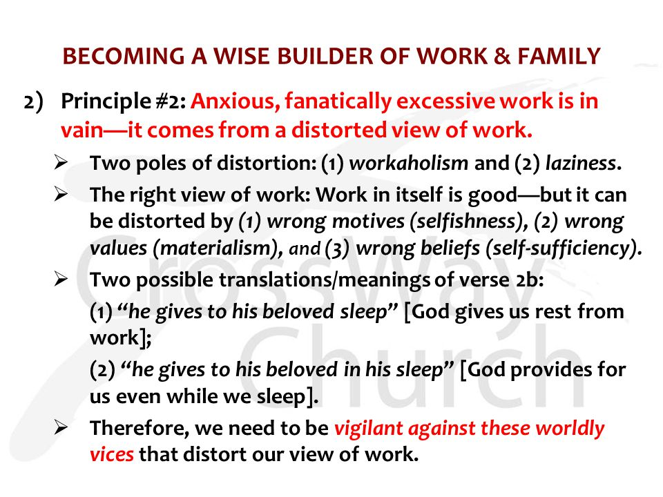 BECOMING A WISE BUILDER OF WORK & FAMILY 2)Principle #2: Anxious, fanatically excessive work is in vain—it comes from a distorted view of work.  Two