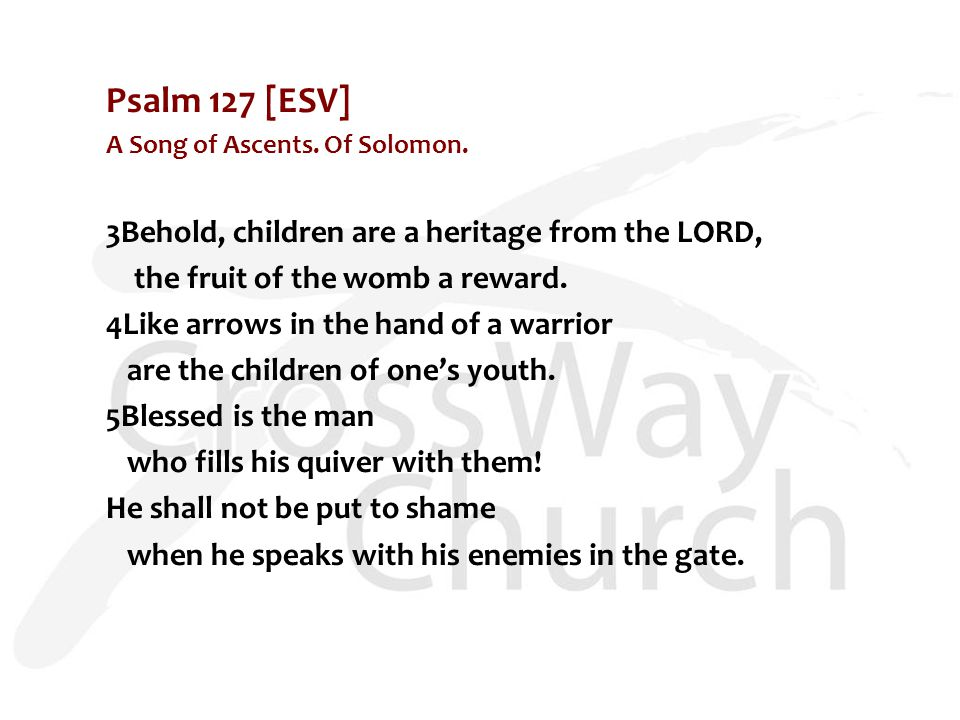 Psalm 127 [ESV] A Song of Ascents. Of Solomon. 3Behold, children are a heritage from the LORD, the fruit of the womb a reward. 4Like arrows in the han
