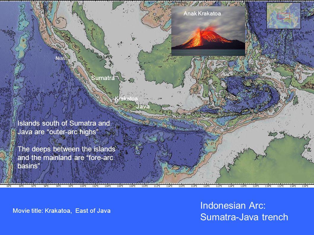 Indonesian Arc: Sumatra-Java trench Nias Islands south of Sumatra and Java are outer-arc highs The deeps between the islands and the mainland are fore-arc basins Sumatra Java Krakatoa Anak Krakatoa Movie title: Krakatoa, East of Java