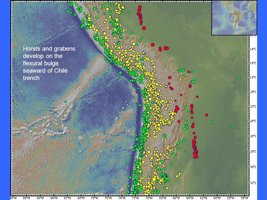 Horsts and grabens develop on the flexural bulge seaward of Chile trench