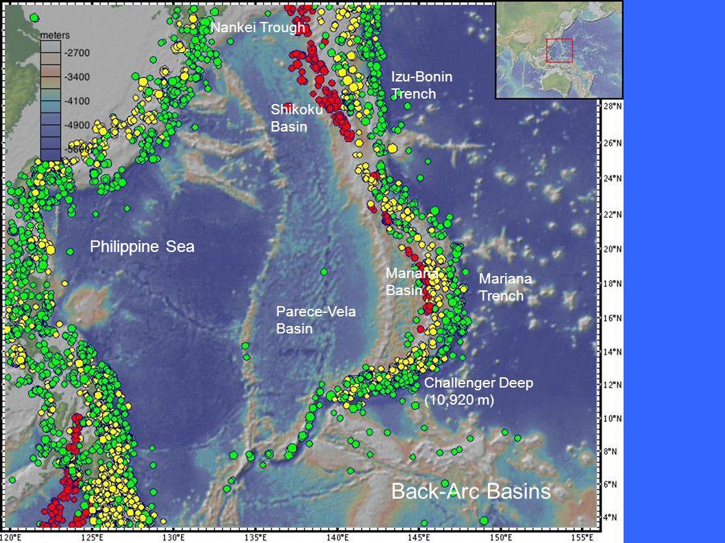 Philippine Sea Parece-Vela Basin Shikoku Basin Nankei Trough Mariana Basin Izu-Bonin Trench Mariana Trench Challenger Deep (10,920 m) Back-Arc Basins
