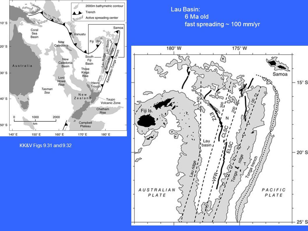 KK&V Figs 9.31 and 9.32 Lau Basin: 6 Ma old fast spreading ~ 100 mm/yr