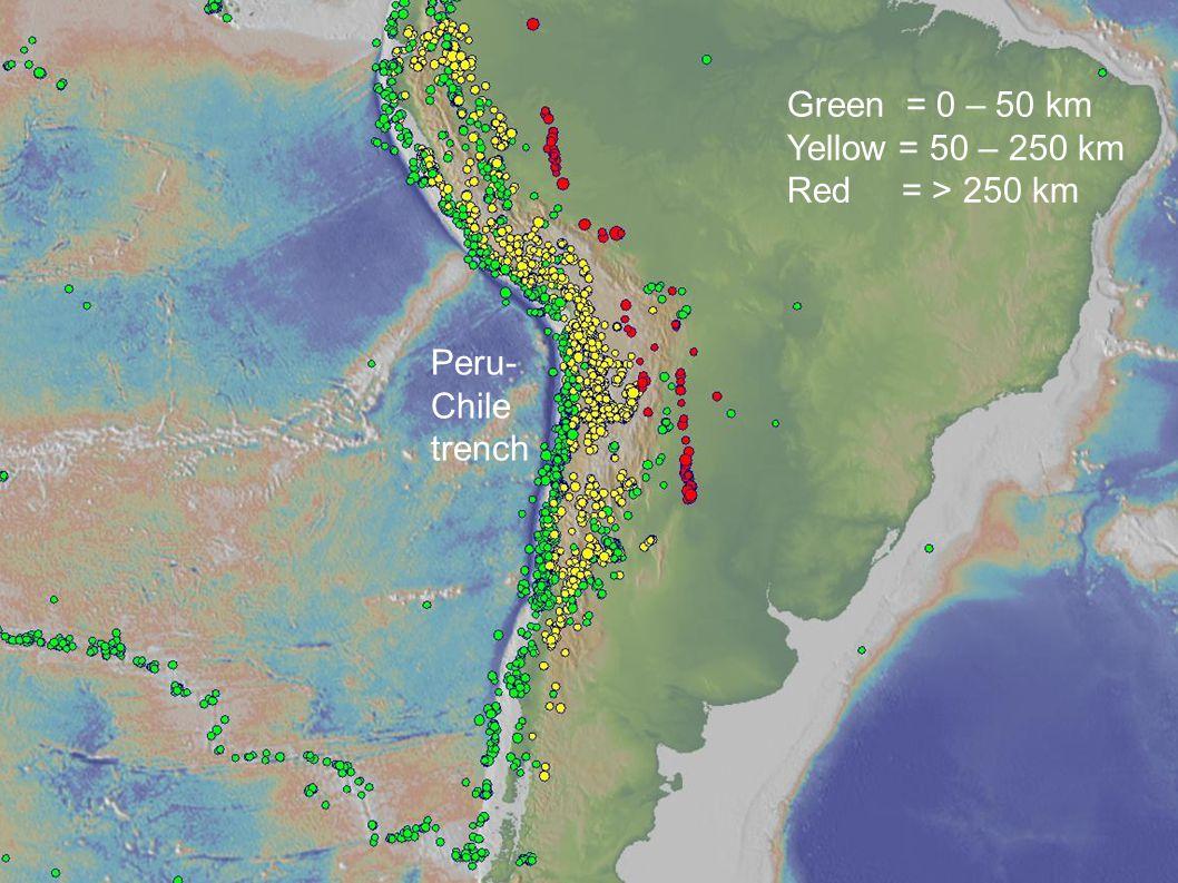 Peru- Chile trench Green = 0 – 50 km Yellow = 50 – 250 km Red = > 250 km