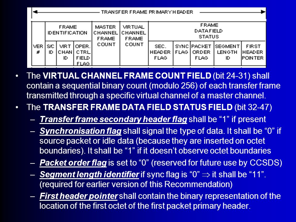 Transfer Frame Primary Header The VERSION NUMBER (bit 0-1) and shall be set to 00 The TRANSFER FRAME IDENTIFICATION FIELD (bit 2-15) 14-bits –Spacecraft identifier (bit 2-11) is assigned by CCSDS and shall provide the identification of the spacecraft which created the frame.