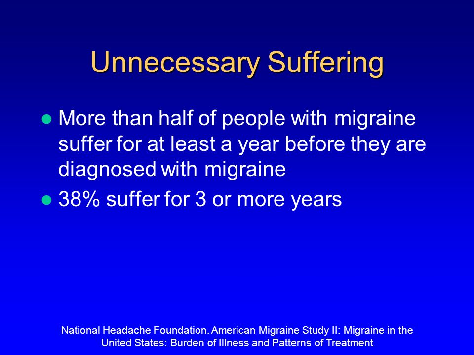52% 39% 9% Need bed rest Can work with some difficulty Can work as normal Migraine Takes Quality Time Out From Your Life National Headache Foundation.