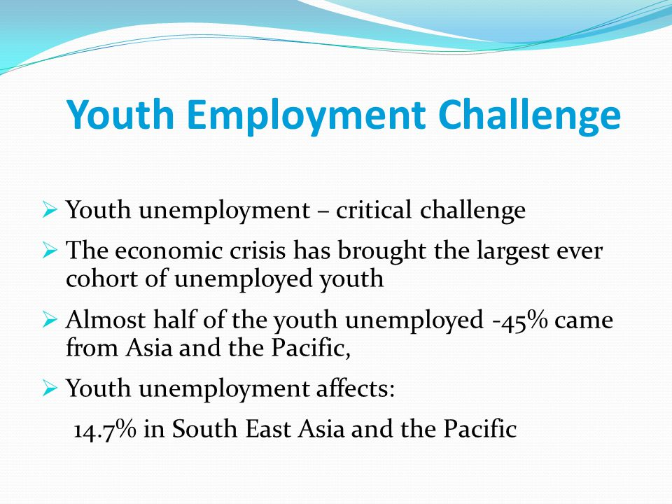 Youth Employment Challenge  Youth unemployment – critical challenge  The economic crisis has brought the largest ever cohort of unemployed youth  Almost half of the youth unemployed -45% came from Asia and the Pacific,  Youth unemployment affects: 14.7% in South East Asia and the Pacific