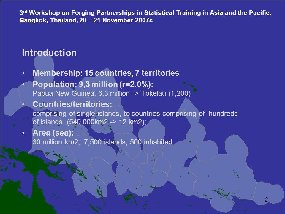 Marshall Islands Kiribati Tuvalu French Polynesia Tokelau Am Samoa Samoa Wallis et Futuna Pitcairn Islands Cook Islands Niue Fiji Vanuatu New Caledonia Solomon Islands Papua New Guinea Tonga Nauru Palau Guam CNMI Federated States of Micronesia TEXT LAYER MAP LAYER 2 3 rd Workshop on Forging Partnerships in Statistical Training in Asia and the Pacific, Bangkok, Thailand, 20 – 21 November 2007s Introduction Membership: 15 countries, 7 territories Population: 9,3 million (r=2.0%): Papua New Guinea: 6,3 million -> Tokelau (1,200) Countries/territories: comprising of single islands, to countries comprising of hundreds of islands (540,000km2 -> 12 km2); Area (sea): 30 million km2; 7,500 islands; 500 inhabited