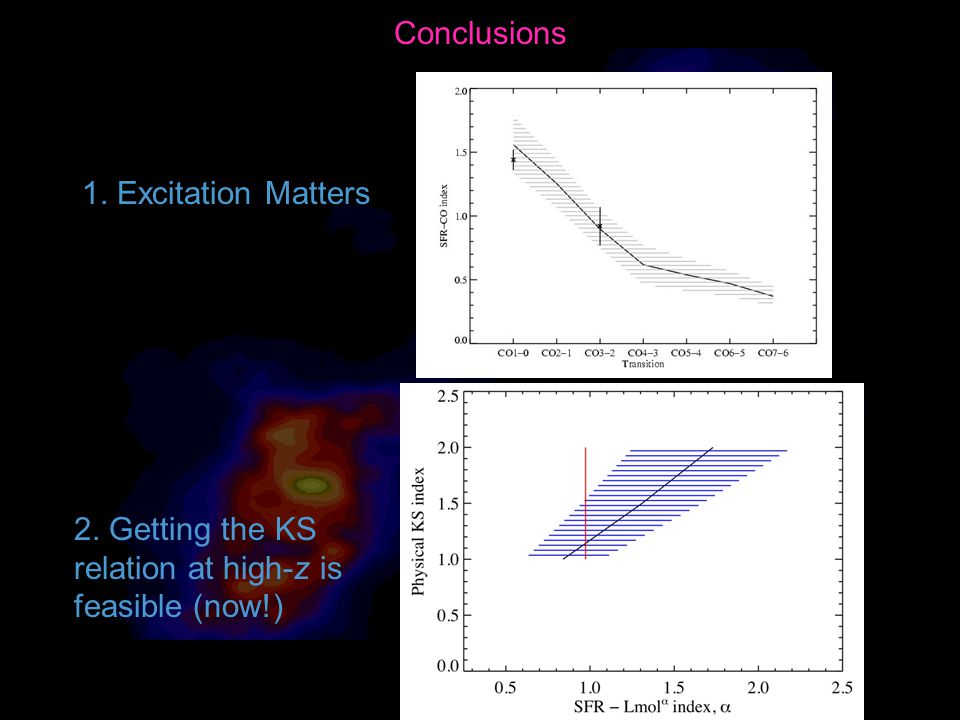 Conclusions 1. Excitation Matters 2. Getting the KS relation at high-z is feasible (now!)
