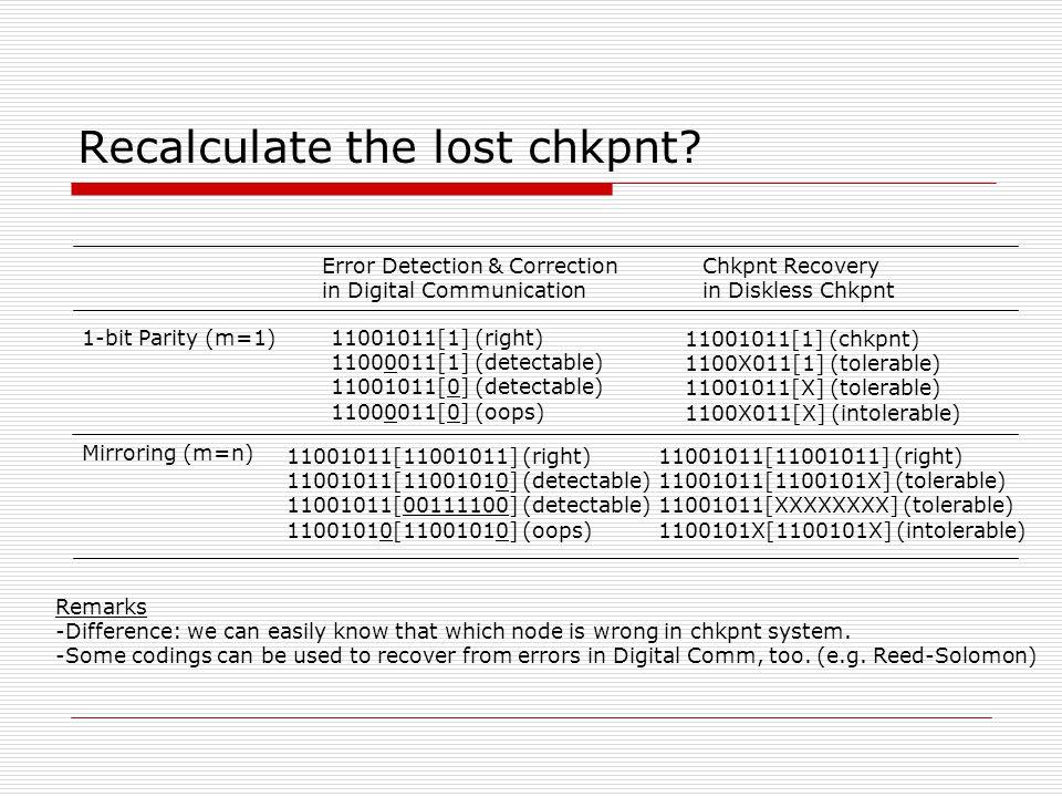 Recalculate the lost chkpnt.