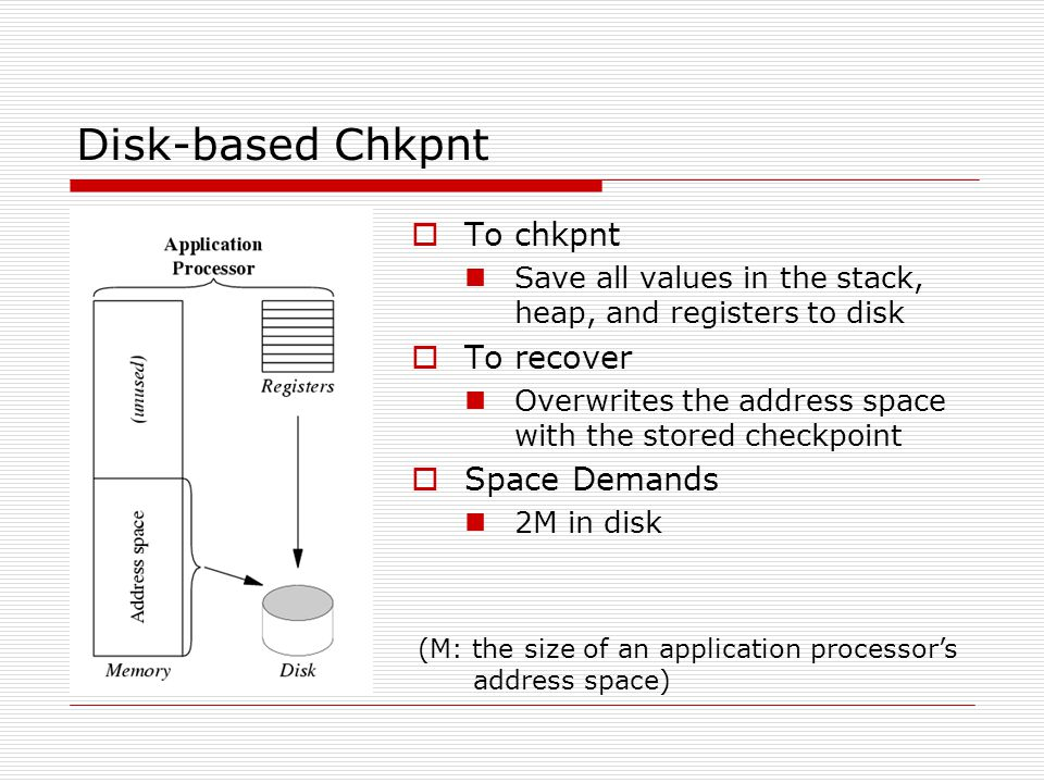 Disk-based Chkpnt  To chkpnt Save all values in the stack, heap, and registers to disk  To recover Overwrites the address space with the stored checkpoint  Space Demands 2M in disk (M: the size of an application processor's address space)