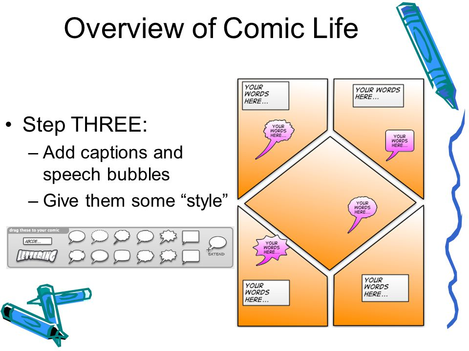 Overview of Comic Life Step THREE: –Add captions and speech bubbles –Give them some style