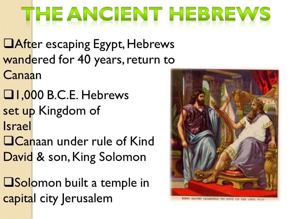  After escaping Egypt, Hebrews wandered for 40 years, return to Canaan  1,000 B.C.E. Hebrews set up Kingdom of Israel  Canaan under rule of Kind Da