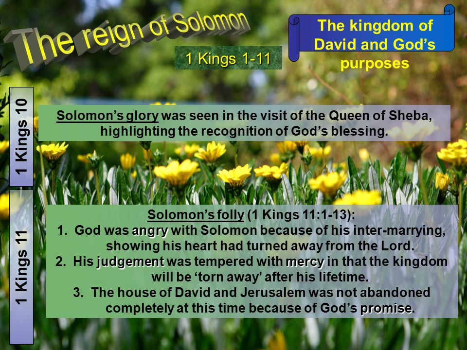 The kingdom of David and God's purposes 1 Kings 1-11 1 Kings 10 Solomon's glory was seen in the visit of the Queen of Sheba, highlighting the recognit